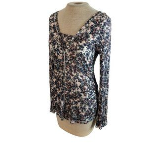 William Rast Floral Knit Top Pearl Accents Shirt